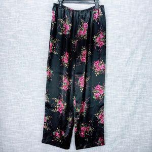 Croft & Barrow Black Floral Satin Pajama Pants L
